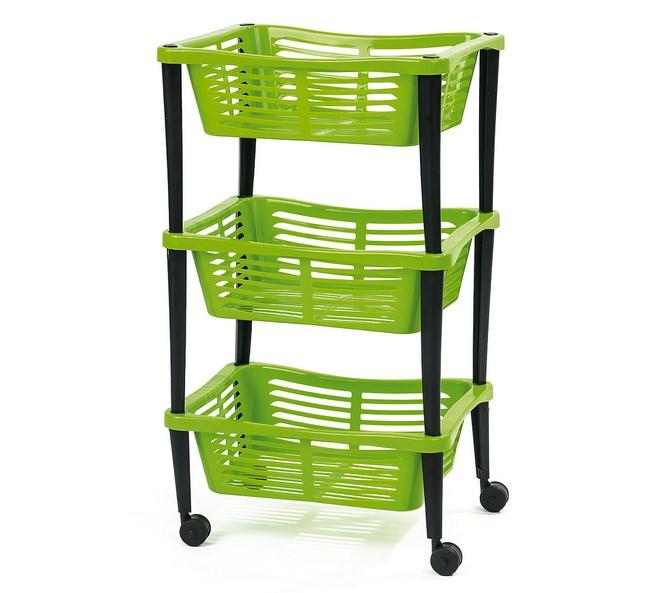 Třípatrový pojízdný košík zelený