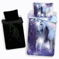 Detské bavlnené svietiace obliečky Unicorn glow, 140 x 200 cm, 70 x 90 cm