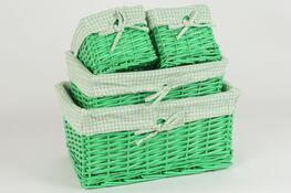 Košík proutěný, sada 4 ks zelená