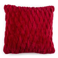 Povlak na polštářek chlupatý prošívaný červená, 45 x 45 cm