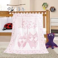 Dětská deka Nela Sova růžová, 100 x 140 cm