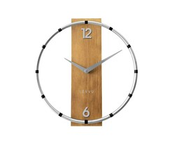 Nástenné hodiny Lavvu Compass Wood strieborná, pr. 31 cm