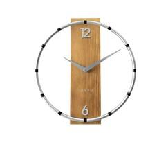 Zegar ścienny Lavvu Compass Wood srebrny, śr. 31 cm