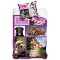Bavlněné povlečení Animal Planet - Pejsci a kočky, 160 x 200 cm, 70 x 80 cm