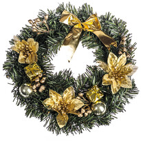 Vianočný veniec s poinsettiou pr. 25 cm, zlatá