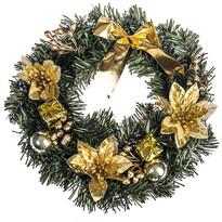 Wieniec świąteczny z poinsecją 25 cm, złoty
