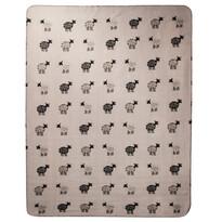 Fleecová deka Ovečky sivá, 130 x 170  cm