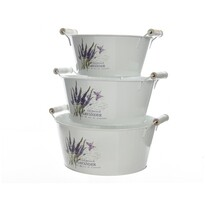 Zinkové kvetináče Lavender, sada 3 ks