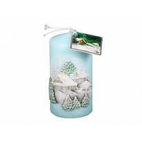 Vianočná sviečka Chalúpka, modrá