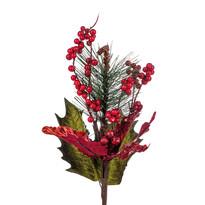 Umělá kytice Poinsettie s bobulemi, červená