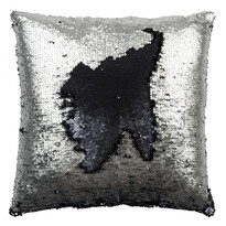Poduszka z cekinami czarny, 45 x 45 cm