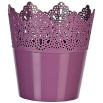 Plastový obal na květináč Krajka 11,5 cm, fialová