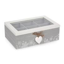 Box s priehradkami Love Winter sivá, 23 x 16 cm