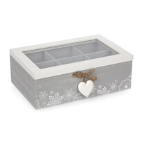 Pudełko z przegródkami Love Winter szary, 23x16 cm