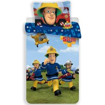Lenjerie de pat pentru copii Pompierul Sam 01,din flanelă, 140 x 200 cm, 70 x 90 cm