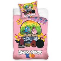 Detské bavlnené obliečky Angry Birds Karaoke, 140 x 200 cm, 70 x 80 cm