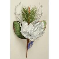 Decorațiune Crăciun Magnolia cu mărgele argintiu, 45 cm