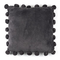 Polštářek Pompon šedá, 45 x 45 cm