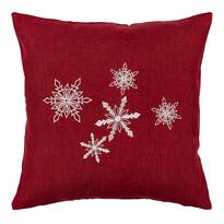 Vánoční povlak na polštářek Vločky červená, 40 x 40 cm