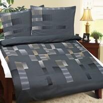 Krepové povlečení Čárky šedá, 140 x 200 cm, 70 x 90 cm