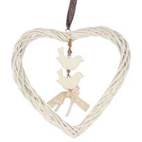 Závěsná dekorace Ratanové srdce s ptáčky, bílá