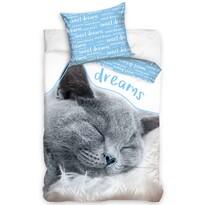 Bavlnené obliečky Mačička - Sweet Dreams blue, 140 x 200 cm, 70 x 90 cm