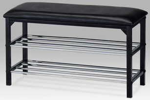 Botník/taburet 2 poschodia, čierna