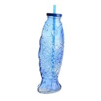 Skleněná láhev s brčkem Fish modrá, 25,5 cm