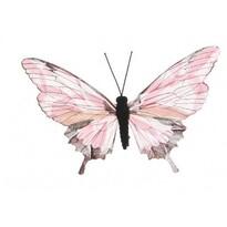 Dekorační Motýlek růžová, 20 cm