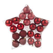 Vánoční koule červená, 20 ks