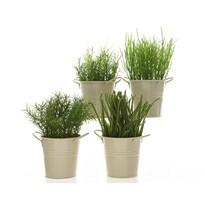 Umělá travina v zinkovém květináči, 16 cm