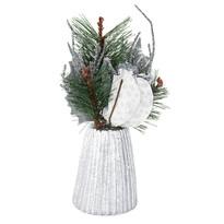Asztali karácsonyi dísz magnóliával, ezüst