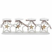 StarDeco Dekoratívny svietnik Hviezdy biela, 47 cm