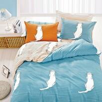 DecoKing Bavlněné povlečení Kitty Bed modrá, 135 x 200 cm, 80 x 80 cm