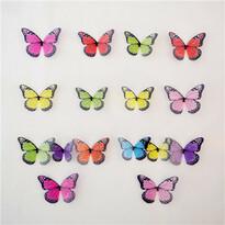 Fluturi 3D autocolanți, colorați, 18 buc