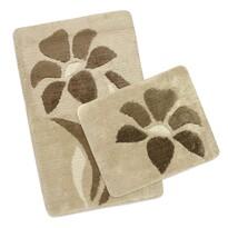 Komplet dywaników łazienkowych Ultra Kwiatek brązowy, 60 x 100 cm, 60 x 50 cm