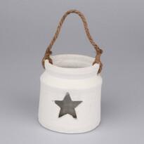Keramický svietnik so sklom Hviezda, biela