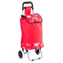 Nákupná taška na kolieskach Flower, červená