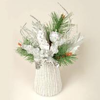 Vianočná aranžmá Poinsettia, strieborná