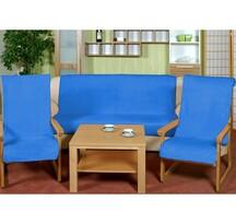 Narzuty na kanapę i fotele Korall micro niebieski, 150 x 200 cm, 2 szt. 65 x 150 cm
