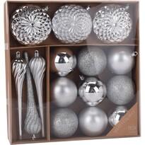 Sada vianočných ozdôb Tolentino strieborná, 15 ks