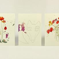 Set troch priania Liška & lúčne kvety, A6