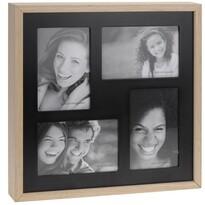 Fotorámček Wood na 4 fotografie, čierna + béžová
