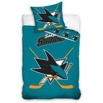 Pościel bawełniana świecąca NHL San Jose Sharks , 140 x 200 cm, 70 x 90 cm