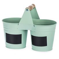 Dvojitý květináč se štítky zelená, pr. 11 cm