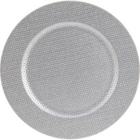 Třpytivý dekorační talíř stříbrná, pr. 33 cm