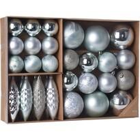 Sada vianočných ozdôb Terme studená strieborná, 31 ks