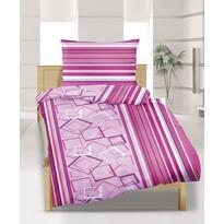 Flanelové obliečky Štvorce ružové, 140 x 200 cm, 70 x 90 cm
