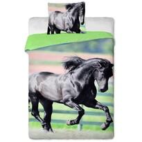 Fekete ló pamut ágynemű,  140 x 200 cm, 70 x 90 cm