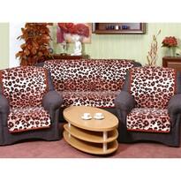 Prikrývky na sedaciu súpravu Karmela Leopard tehlový, 150 x 200 cm, 2 ks 65 x 150 cm